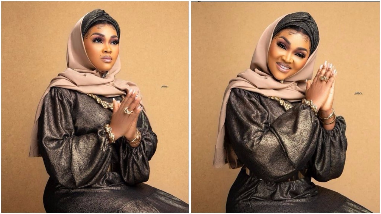 ENTERTAINMENT 'Give me a beautiful Muslim name' Mercy Aigbe tells fans as she dazzles in Eid Mubarak outfit (photos)